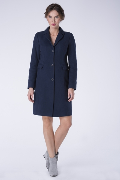 Navy blue coat to the knee with buttons